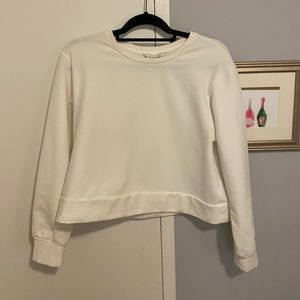 Cropped White Crewneck